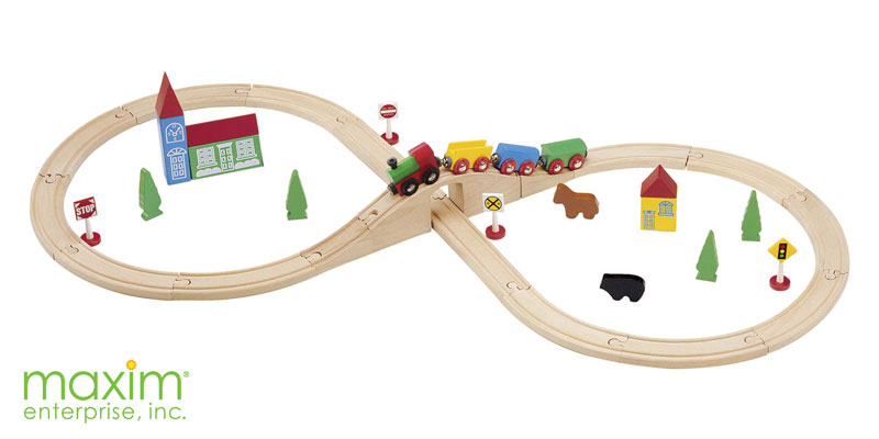 Figure 8 Train Set With Wooden Bridge And Tunnel Wooden Train Sets