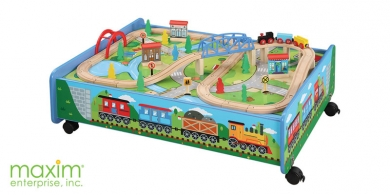 62 Piece Wooden Train Set With Table Trundle