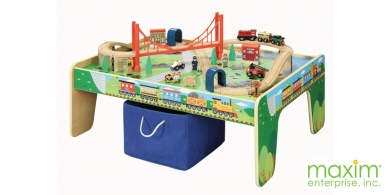 50 piece Train Set with Train / Play Table  sc 1 st  WoodenTracks.com & 50 piece Train Set with Train / Play Table : Wooden Train Sets ...